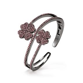 Heart4Heart Black Flash Plated Cuff Bracelet-