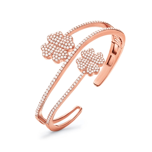 Heart4Heart Rose Gold Plated Cuff Bracelet-