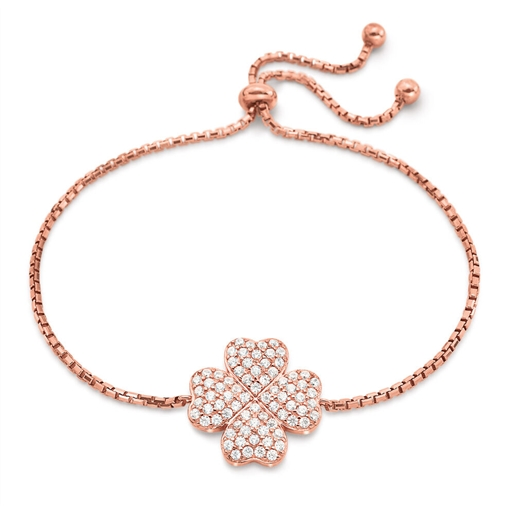 Heart4Heart Rose Gold Plated Adjustable Bracelet-