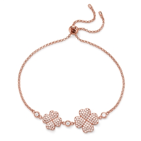 Heart4Heart Rose Gold Plated Ρυθμιζόμενο Βραχιόλι-