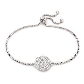 Discus SIlver 925 Adjustable Bracelet-