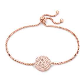 Discus Rose Gold Plated Adjustable Bracelet-