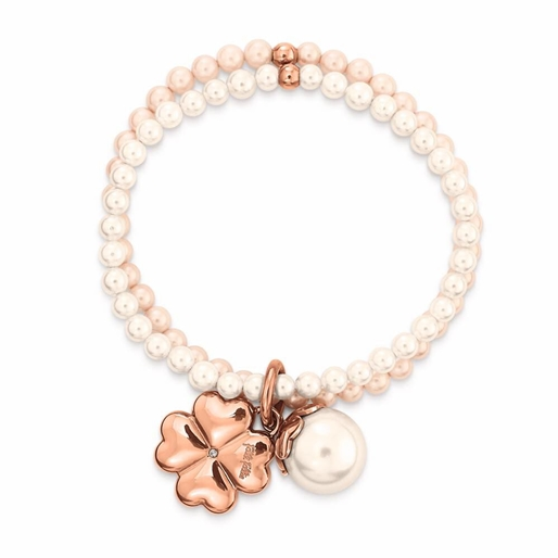 Heart4Heart Rose Gold Plated Pearl Bracelet-