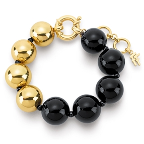 Style Stories Black And Yellow Gold Plated Bracelet-