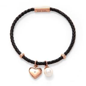 Heart4Heart Sweetheart Flash Rose Gold Plated Βραχιόλι Με Συνθετικό Δερμάτινο Κορδόνι-