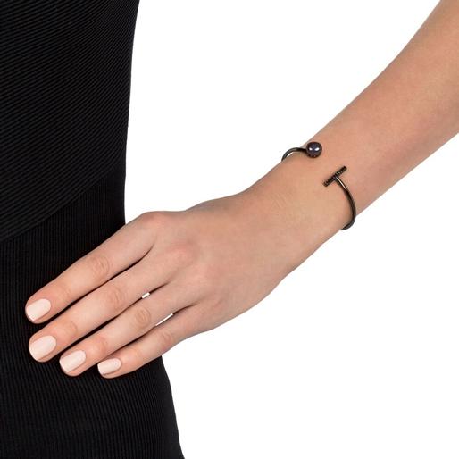 Acro Balance Silver 925 Black Flash Plated Cuff Bracelet -