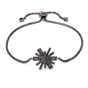 Star Flower Black Rhodium Plated Adjustable Bracelet-