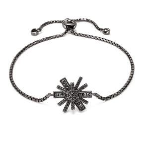 Star Flower Black Flash Plated Adjustable Bracelet-