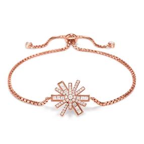 Star Flower Rose Gold Plated Adjustable Bracelet-