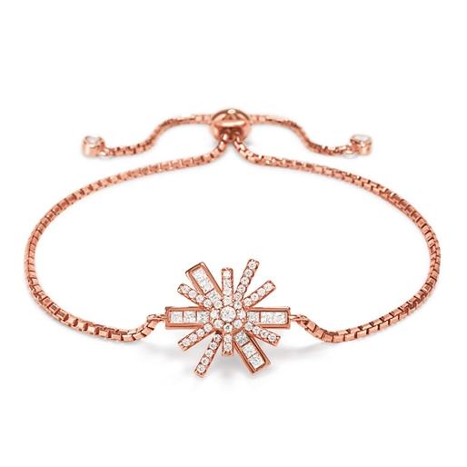 Star Flower Rose Gold Plated Ρυθμιζόμενο Βραχιόλι-
