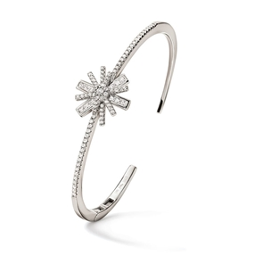Star Flower Silver 925 Cuff Bracelet-