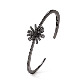 Star Flower Black Rhodium Plated Cuff Bracelet-