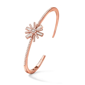 Star Flower Rose Gold Plated Cuff Bracelet-