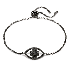 Heart4Heart Mati Black Flash Plated Ajustable Bracelet-