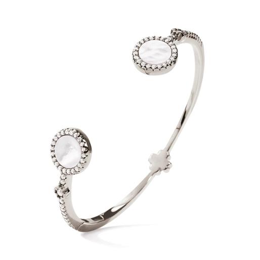 Heart4Heart Mirrors Silver 925 Rhodium Plated Δύο Όψεων Σταθερό Βραχιόλι-