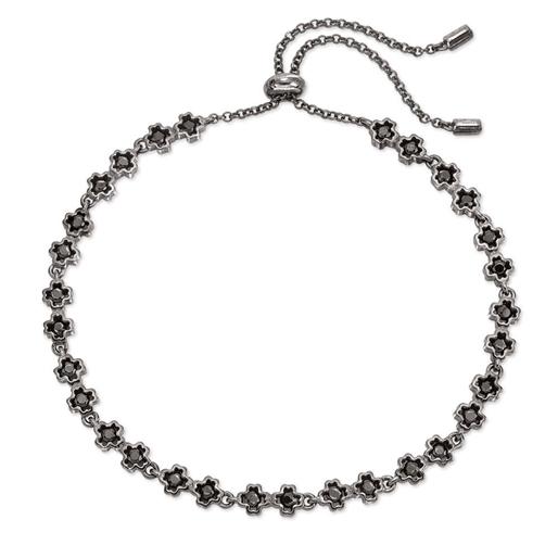 Miss Heart4Heart Silver 925 Black Plated Ρυθμιζόμενο Βραχιόλι-