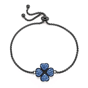 Heart4Heart Black Plated Adjustable Bracelet-