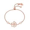 Flower Power 18k Rose Gold Plated Brass Adjustable Bracelet