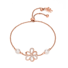 Flower Power 18k Rose Gold Plated Brass Adjustable Bracelet-