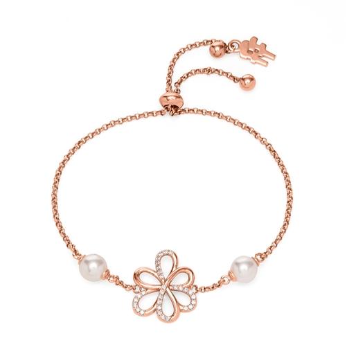 Flower Power 18k Rose Gold Plated Brass Ρυθμιζόμενο Βραχιόλι-