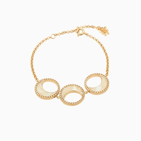 Celestial Glow silver 925° chain bracelet, with 18K yellow gold plating, moon  motifs with ivory iridescent acrylic and clear cz stones-