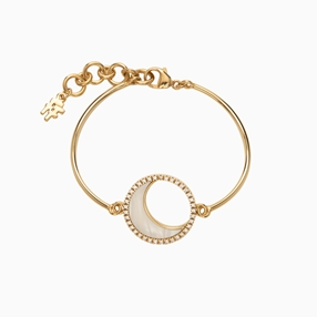 Celestial Glow silver 925° curved bars bracelet with 18K yellow gold plating, moon motif with ivory iridescent acrylic and clear cz stones-