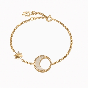 Celestial Glow silver 925° chain bracelet, with 18K yellow gold plating, moon and sun motifs with ivory iridescent acrylic and clear cz stones-