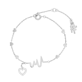My Heart Beat silver 925° chain bracelet with medium heartbeat motif & small heart charm motif with cz stones-
