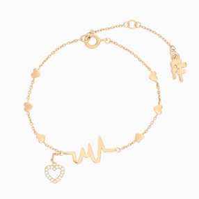 My Heart Beat 1micron 18K yellow gold plated silver 925° chain bracelet with medium heartbeat motif & small heart charm motif with cz stones-