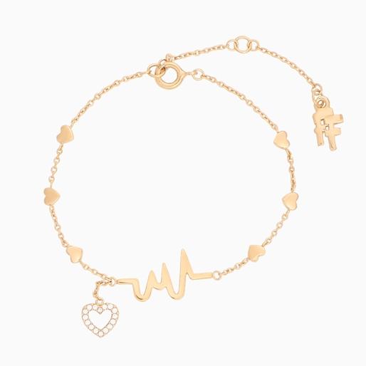 My Heart Beat 1micron 18K yellow gold plated silver 925° βραχιόλι αλυσίδα με μοτίφ καρδιακού παλμού & καρδιά με πέτρες-