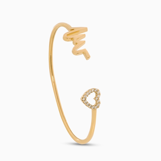 My Heart Beat 1micron 18K yellow gold plated silver 925° bangle with medium heartbeat motif & small heart charm motif with cz stones-