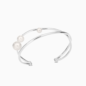The Pearl Effect silver plated brass bangle with white shell coated The Pearl Effect-