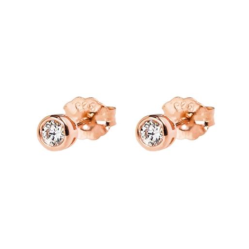 Fashionably Silver Essentials Rose Gold Plated Κοντά Σκουλαρίκια-