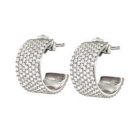 Fashionably Silver Essentials Rhodium Plated Stone Earrings-