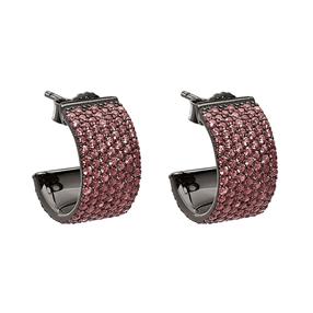 Fashionably Silver Essentials Black Plated Κοντά Σκουλαρίκια-