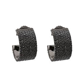 Fashionably Silver Essentials Black Rhodium Plated Stone Earrings-