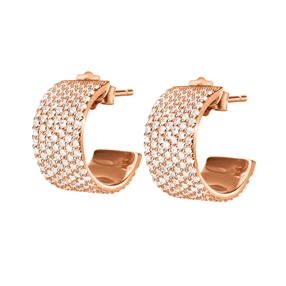 Fashionably Silver Essentials Rose Gold Plated Stone Earrings-