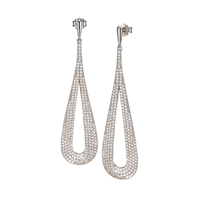 Fashionably Silver Temptation Rhodium Plated Long Earrings-
