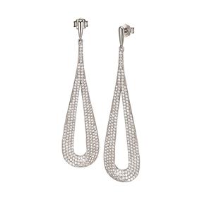 Fashionably Silver Temptation Rhodium Plated Μακριά Σκουλαρίκια-