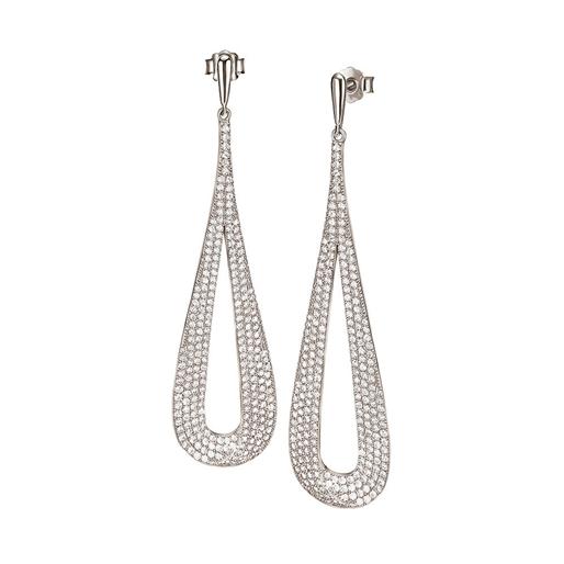 Fashionably Silver Temptation Rhodium Plated Long Earrings-