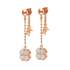 Heart4Heart Rose Gold Plated Pave Clear Crystal Stone Long Earrings-