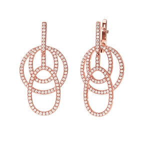 Fashionably Silver Temptation Rose Gold Plated Long Earrings-