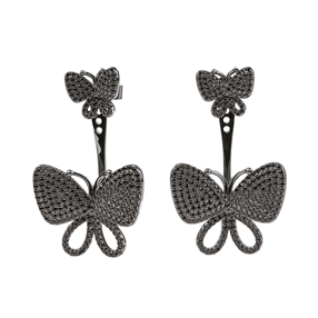 Wonderfly Black Flash Plated  Short Earrings-