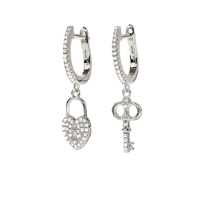 Charm Mates Rhodium Plated Earrings-