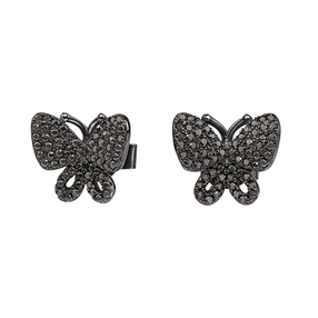 Wonderfly Black Flash Plated Stud Earrings-