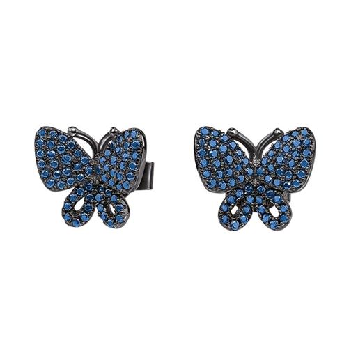 Wonderfly Silver 925 Black Flash Plated Stud Earrings-