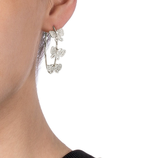 Wonderfly Silver 925 Hoop Earrings-