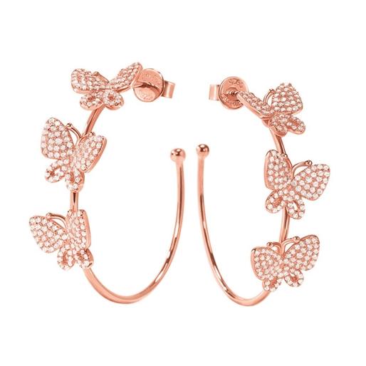 Wonderfly Rose Gold Flash Plated Hoop Earrings-