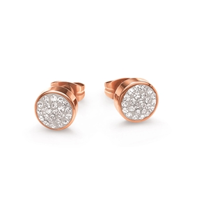 Bling Chic Flash Rose Gold Plated Καρφωτά Σκουλαρίκια-
