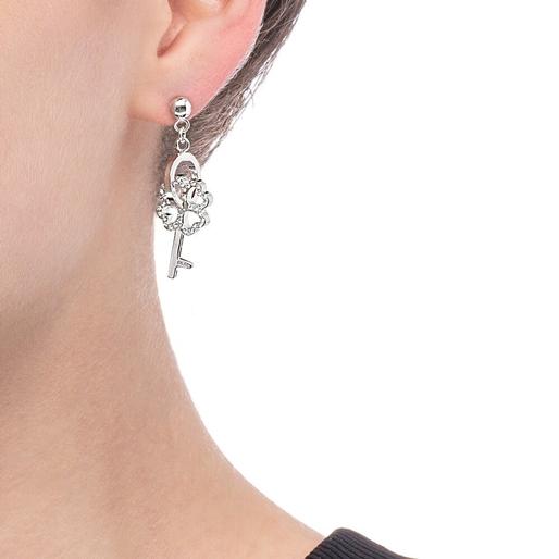 On Key Silver Plated Short Earrings-